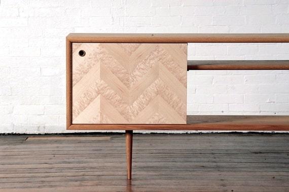 items similar to mid century modern media console chevron on etsy. Black Bedroom Furniture Sets. Home Design Ideas
