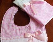 Burp Cloth and  Bib Set, Pink with Butterflies, Burp Cloth & Bib Set, Baby Shower, Baby Gift, Newborn, Girl Set, Infant, Girls Bib Set,