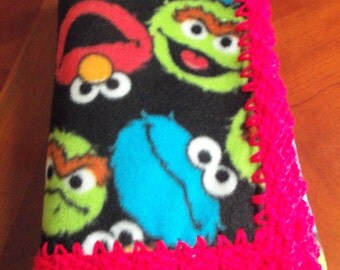 Baby Blanket Elmo and Friends Fleece with Red Crochet Edge