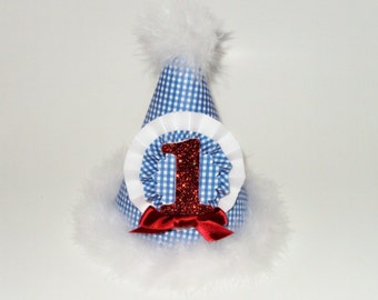 Paper Party Hat, Blue Gingham and Red Glitter Birthday Party Hat, Made To Order