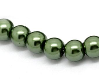 8mm Dark Green Glass Pearl Imitation Round Beads - 32 inch strand