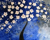 "tree painting original oil blue fantasy artist Mariana Stauffer - Malorcka 24x36"" fantasy Abstract landscape blossoms"