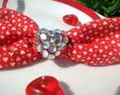 OOAK Rockabilly Sweet Lolita Red Heart Upcycled Fabric Headband with rhinestone heart