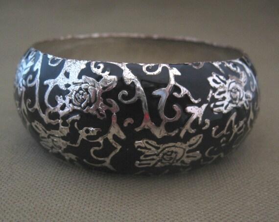 Wide Enameled Silver and Black Asian Theme Bangle Bracelet