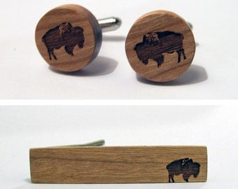 Wood Animal Tie Clip and Cuff Link Set