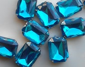 12 Pieces of 13 x 18 mm Lake   Blue  Acrylic Octagon Rectangle Rhinestone, Jewels, Cabochon With Silver Prong , Sew on Setting.