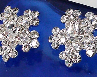 10 Pieces Silver  Metal Clear  Rhinestone Buttons 19 mm. Snowflake rhinestone bridal accessory
