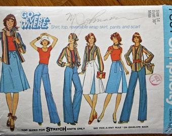Simplicity 7391 Misses' Shirt Blouse Reversible Wrap Skirt Pants Scarf Vintage Sewing Pattern