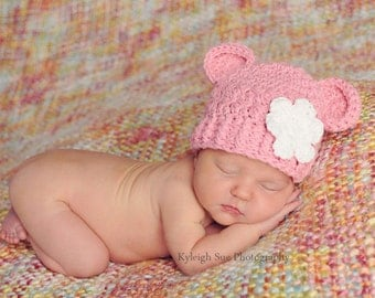 Newborn Baby Girl Hat, 0-1 Months Baby Girl Monkey Hat, Rose Pink with White Flower. Great for Photo Props. Baby Shower Gift.
