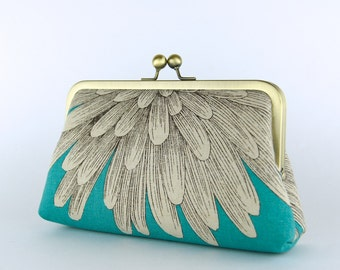 Chrysanthemum Clutch on Turquoise (choose your color) With Silk Lining, wedding clutch, bridesmaid clutch, bridesmaid gift