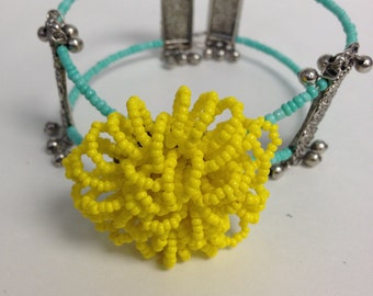 Boho Hippie Beaded  Flower Bracelet