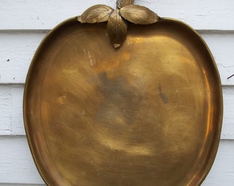 "Vintage Large Brass Apple Tray 17"" by 13"" Made in Spain"