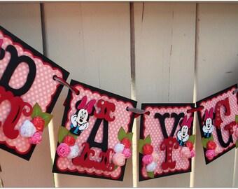 Handmade Banner - Custom made - GO GREEN - Name Banner Happy Birthday Baby Shower Mini Mouse Theme