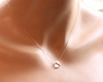 Tiny Everyday Gold Crystal Necklace, Bridesmaids Necklace - Swarovski Crystal Golden Shadow - 14k Gold Filled - Bridal Necklace
