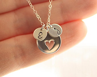 Personalized Mother's Necklace, Two Sterling Silver Initial Charms, Heart Necklace, Bridal Necklace, Grandmom's Necklace -  New Bride Gift