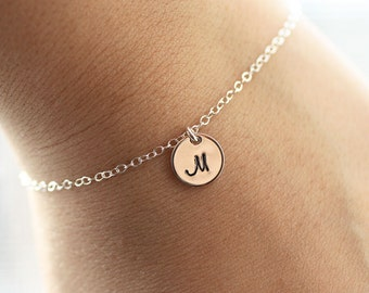 Dainty Initial Bracelet, Sterling Silver, Yellow Gold Fill, Rose Gold, Initial Charm, Personalized Bracelet, Gift For Her, Bridesmaids Gift