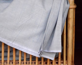 Handwoven Organic Cotton Fabric by the yard - Fog Blue. Angels Breath Cotton. Summer cotton dress fabric. 44 inches wide.
