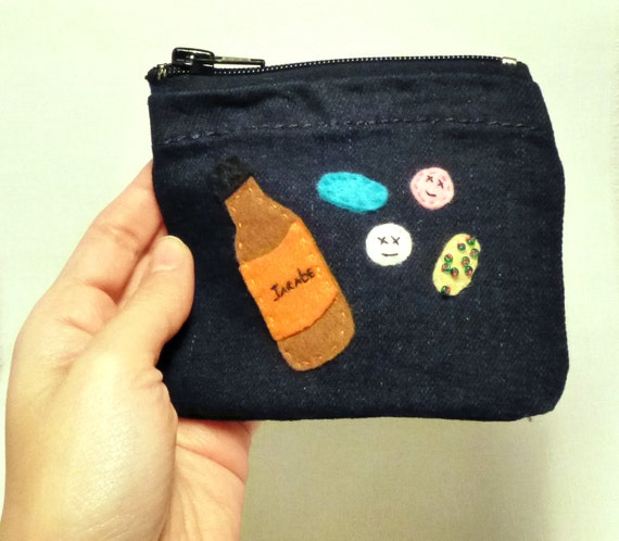 Felt pouch, Pill Box, Purse Pill Box, Medicine Pouch, Jean bag, Gifts for Her, Gifts for kids, Handmade by Marumadrid