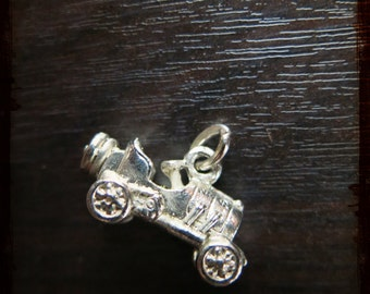 Antique French 3D racing car automobile Medal Pendant - Vintage Jewelry pendant from France