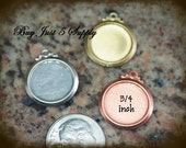 NICKEL SILVER Bevel Circles with Fancy Ring - Stamping Blanks - 5 for You - for Jewelry, Stamping, Scrapbooking, and more....