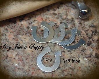 HORSESHOE Stamping Blanks ...NICKEL SILVER - 5 for You - for Jewelry, Stamping, Scrapbooking, and more....
