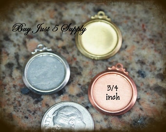 COPPER Bevel Circles with Fancy Ring - Stamping Blanks - 5 for You - for Jewelry, Stamping, Scrapbooking, and more....