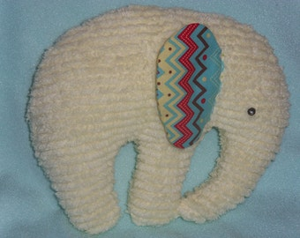 Stuffed Chenille Elephant, Yellow, ears are Bright Red, Turquoise, Yellow and Brown Chevrons
