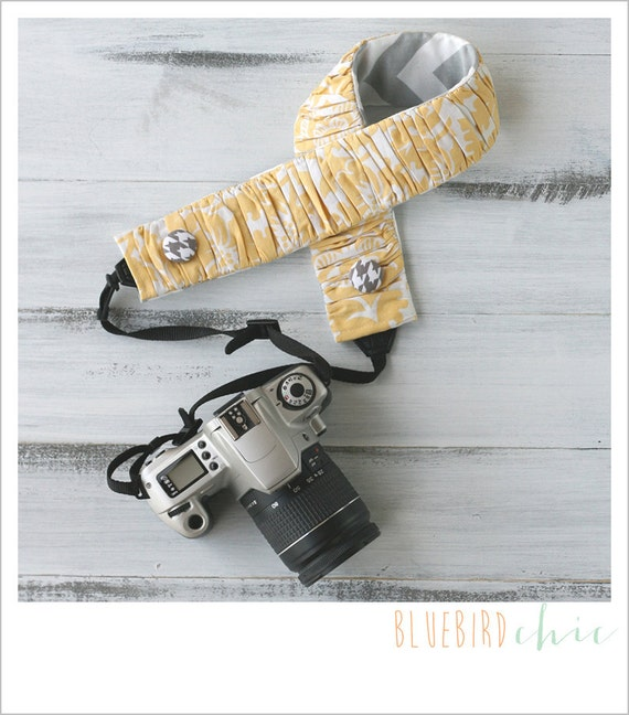 CLOSEOUT SALE - ruched camera strap cover - sunshine - standard size only