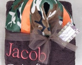 Camo Towel - with hood brown towel with  brown, green & black camo minky with orange ribbon