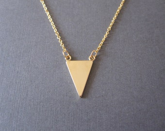 Gold Slim Triangle Necklace