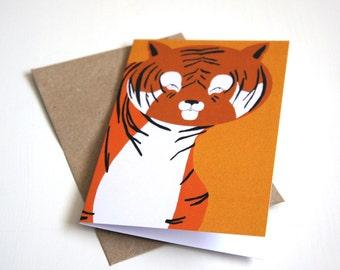 Greeting Card, Blank Card, Card For Children, Animal Birthday Card, Tigers