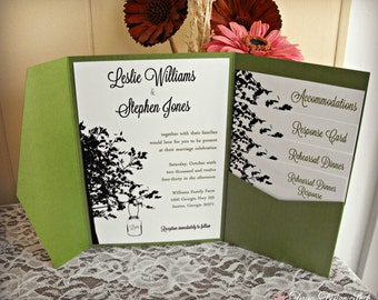 Wedding Invitation Pocketfold - Mason Jar Hanging from a Tree Silhouette - Invitation with Enclosures and Envelopes