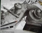 Charcoal Drawing Art Tin Kit , New