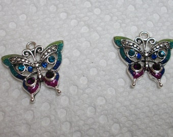 multi/ silver butterfly charms, set of 2