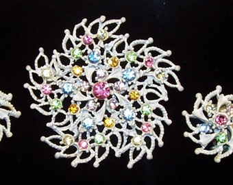 Enameled Demi Parure Vintage Brooch and Earrings