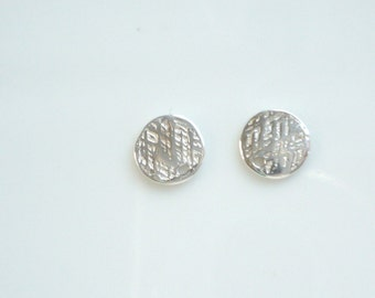 NEW  2 pcs Sterling silver,  textured disk, charm ( 7mm)