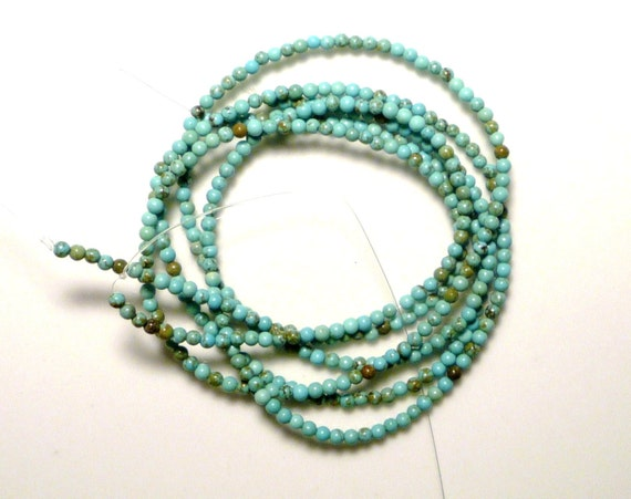 2mm Greenish blue  Turquoise round beads   FULL STRAND