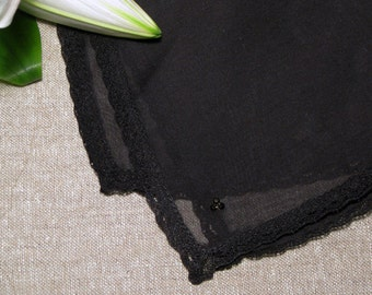 Handkerchief with  Lace Edge and Rhinestone Black
