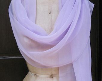 Lavender Chiffon Shawl Wrap with Rhinestone
