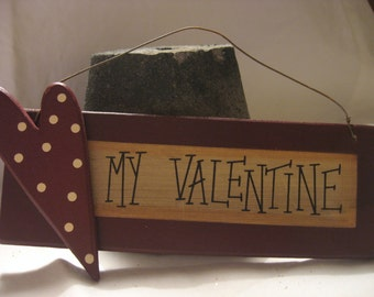 Vintage Inspired Rustic Wooden Valentines Ornaments Embellishment Hang Tag