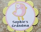 Chick Bird Theme Button Pin- yellow cream pink- for Baby Shower or Birthday Party (Quantity 1)