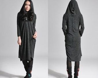 Asymmetrical Hoodie Knit Shirt Dress / Any Size/ 7 Colors/ RAMIES