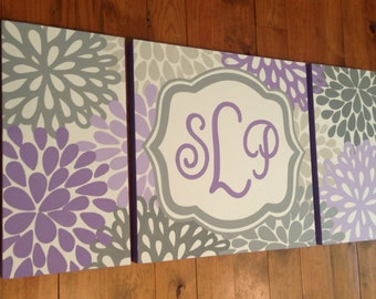 large nursery art- personalized triptych painting- name monogram initials- M2M decor- purple lavender grey flowers