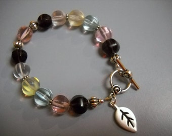 Colorful Glass Melon Beads and Antique Silver Beaded Braceled