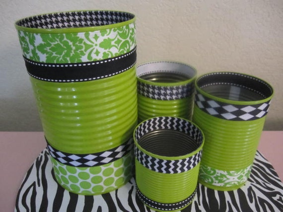 Items similar to set of 4 tin cans decorated in green for Aluminum can decorations