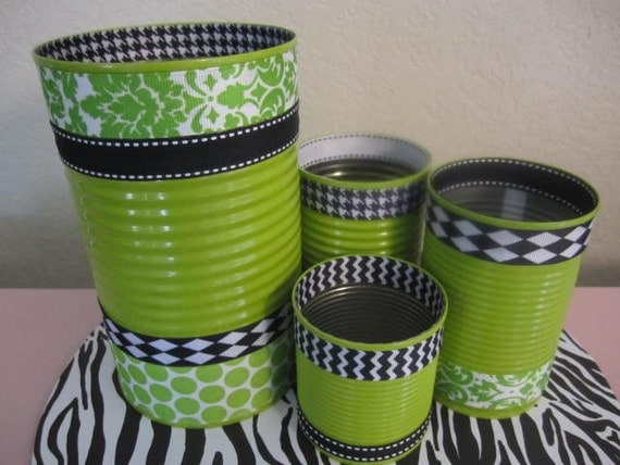 items similar to set of 4 tin cans decorated in green