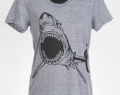 Shark on Tri Grey Tri Blend Women's American Apparel T Shirt S, M, L, XL