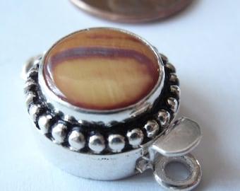Sterling Silver Box Clasp Round Bead Trim Natural Brown Striped Stone Rhyolite Single Strand Qty. 1