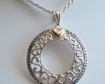 Sterling Round Necklace 10k Gold Heart Wreath Scroll Silver Vintage Sterling 130506