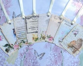 Shabby Chic Gift Tags set of 8 Old Fashioned Roses & Birds Fancy Edge No.14